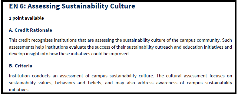 """Credit EN6: """"Assessing Sustainability Culture"""" from the STARS Technical Manual 2.1"""